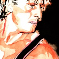 "Owen Hart - Ink and watercolor on 9"" x 12"" watercolor paper"