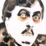 "Paul Bearer - Ink and liquid acrylic on 22"" x 30"" watercolor paper"