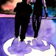 "Paul Bearer and The Undertaker - Ink and watercolor on 9"" x 12"" watercolor paper"