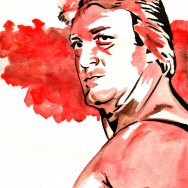 "Paul Orndorff - Ink and watercolor on 9"" x 12"" watercolor paper"