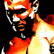 "Randy Orton - Ink and watercolor on 9"" x 12"" watercolor paper"