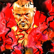 "Randy Orton - Ink, liquid acrylic and watercolor on 9"" x 12"" watercolor paper"