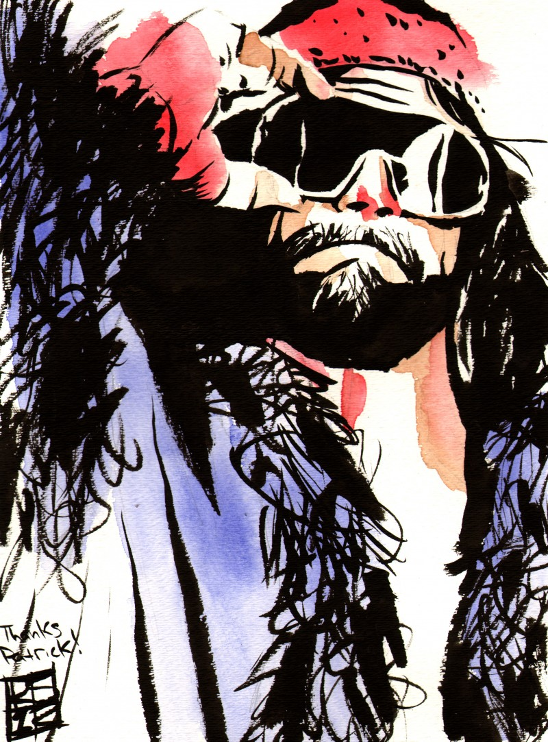 """Randy Savage - Ink and watercolor on 9"""" x 12"""" watercolor paper"""