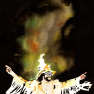 "Randy Savage - Ink and watercolor on 9"" x 12"" watercolor paper"