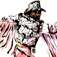 "Randy Savage - Ink and watercolor on 18"" x 12"" watercolor paper"