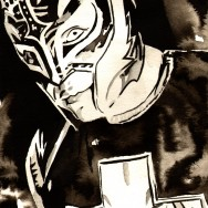 "Rey Mysterio - Ink and watercolor on 9"" x 12"" watercolor paper"