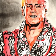 "Ric Flair - Ink and watercolor on 9"" x 12"" watercolor paper"