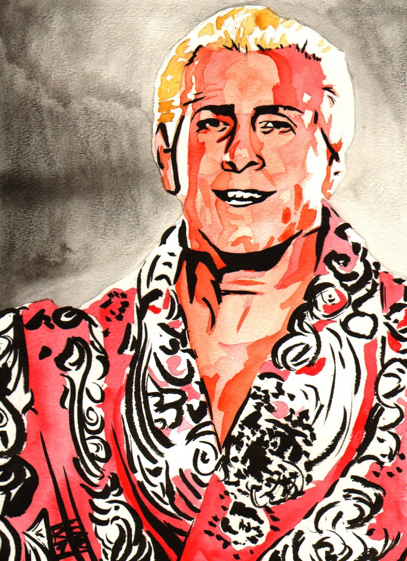 """Ric Flair - Ink and watercolor on 9"""" x 12"""" watercolor paper"""