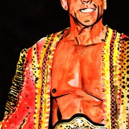 "Ric Flair - Ink and watercolor on 12"" x 18"" watercolor paper"