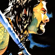 "Roman Reigns - Ink and watercolor on 9"" x 12"" watercolor paper"