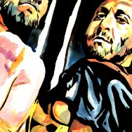 "Ryback and Curtis Axel - Ink and watercolor on 9"" x 12"" watercolor paper"