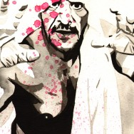 "Sabu - Ink and watercolor on 9"" x 12"" watercolor paper"