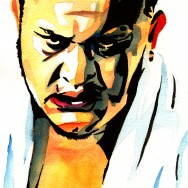 "Samoa Joe - Ink and watercolor on 9"" x 12"" watercolor paper"