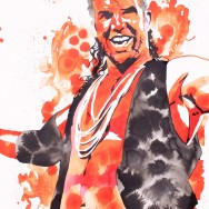 "Scott Hall - Ink and liquid acrylic on 22"" x 30"" watercolor paper"