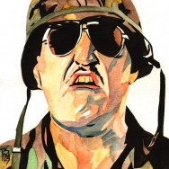 "Sgt Slaughter - Ink and watercolor on 9"" x 12"" watercolor paper"