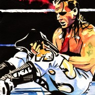 "Shawn Michaels - Ink and watercolor on 9"" x 12"" watercolor paper"