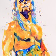 "Shawn Michaels - Ink and liquid acrylic on 22"" x 30"" watercolor paper"