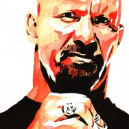 "Steve Austin - Ink and watercolor on 9"" x 12"" watercolor paper"
