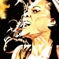 "Tamina Snuka - Ink and watercolor on 9"" x 12"" watercolor paper"