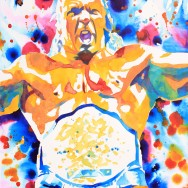 "Triple H - Ink and liquid acrylic on 22"" x 30"" watercolor paper"