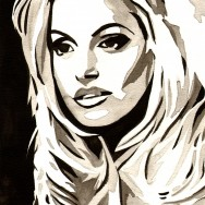 "Trish Stratus - Ink and watercolor on 9"" x 12"" watercolor paper"