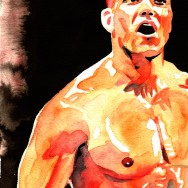 "Tyson Kidd - Ink and watercolor on 9"" x 12"" watercolor paper"