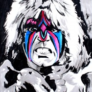 "Ultimate Warrior - Ink and liquid acrylic on 22"" x 30"" watercolor paper"