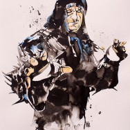 "Undertaker - Ink and watercolor on 22"" x 30"" watercolor paper"