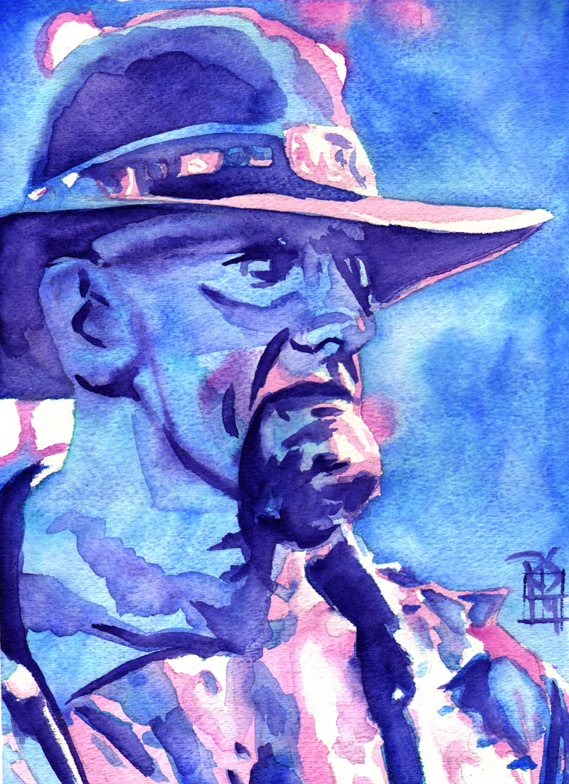 """Undertaker - Ink and watercolor on 9"""" x 12"""" watercolor paper"""