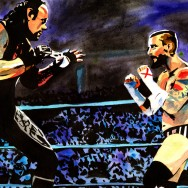 "Undertaker vs CM Punk - Ink and watercolor on 18"" x 12"" watercolor paper"