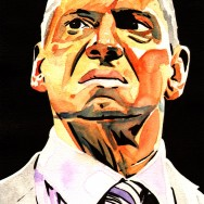 "Vince McMahon - Ink and watercolor on 9"" x 12"" watercolor paper"