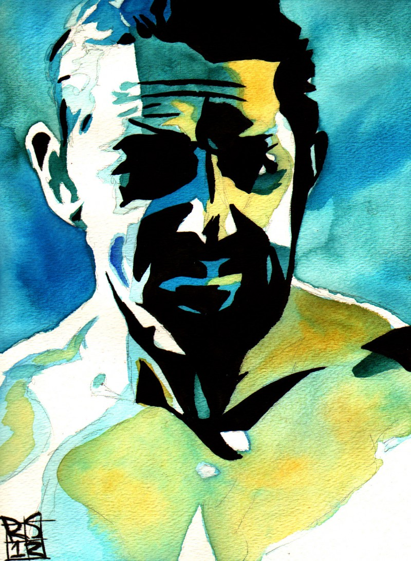 """Wade Barrett - Ink and watercolor on 9"""" x 12"""" watercolor paper"""