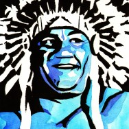 "Wahoo McDaniel - Ink and watercolor on 9"" x 12"" watercolor paper"