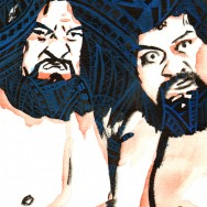 "Wild Samoans - Ink and watercolor on 9"" x 12"" watercolor paper"