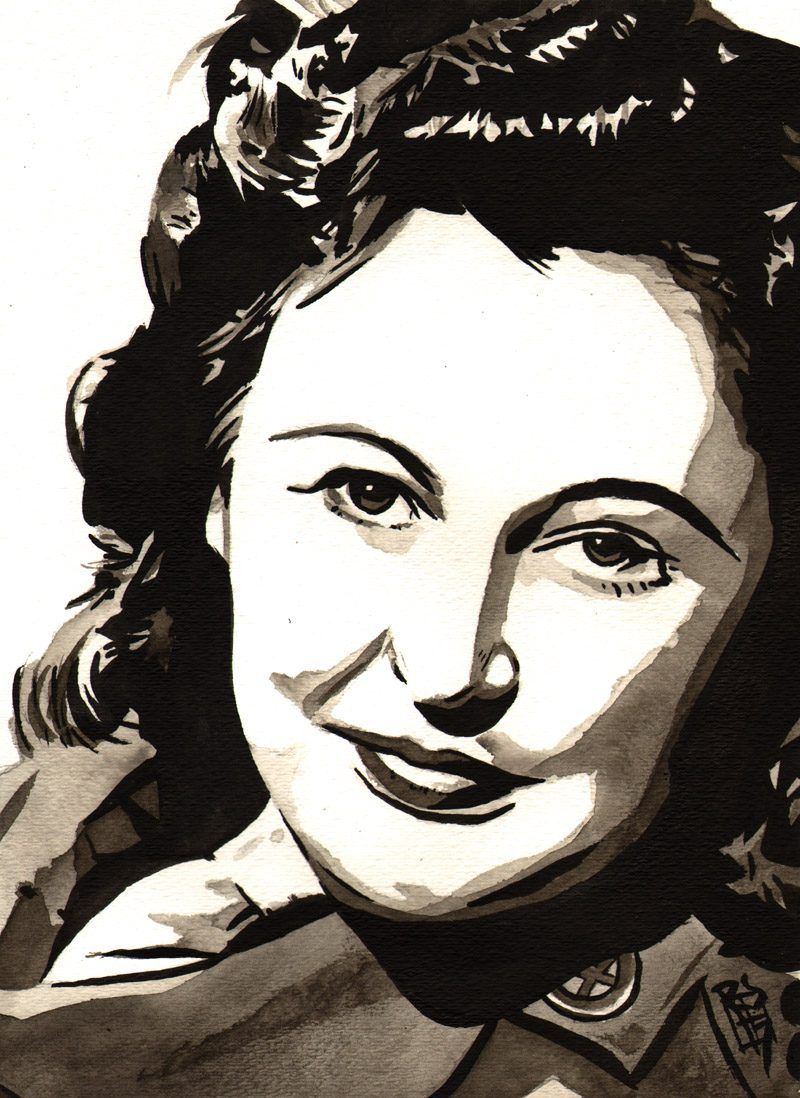 Nancy Wake painted by Rob Schamberger