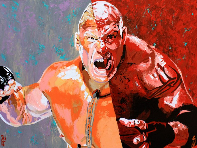 Brock Lesnar vs Goldberg painting by Rob Schamberger