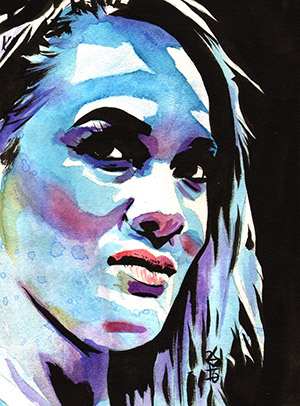 Purchase Nia Jax blue painting by Rob Schamberger