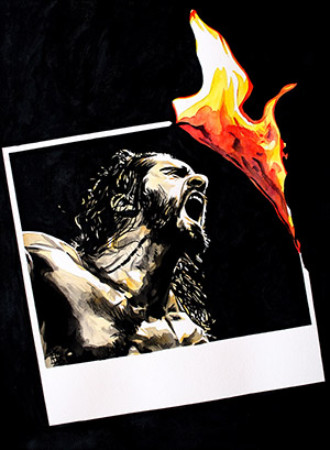 Purchase Seth Rollins Burn it Down painting by Rob Schamberger