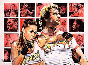 Purchase Ronda Rousey and Roddy Piper painting by Rob Schamberger