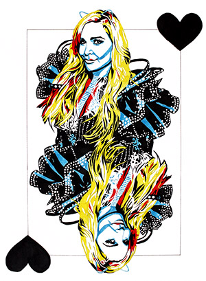 Purchase Queen of Black Hearts Limited Edition print by Rob Schamberger