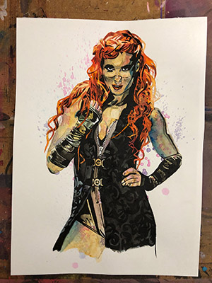 Purchase Becky Lynch painting by Rob Schamberger