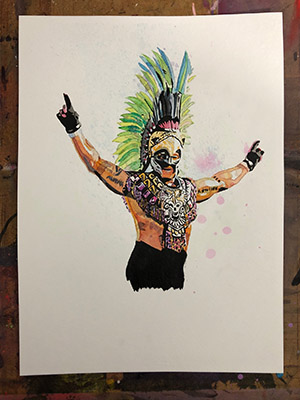 Purchase Rey Mysterio painting by Rob Schamberger