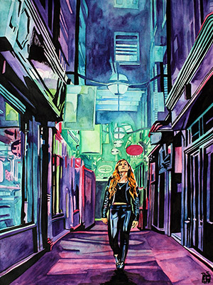 Purchase Neon Becky Lynch painting by Rob Schamberger