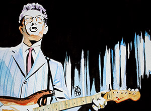 Purchase Buddy Holly painting by Rob Schamberger