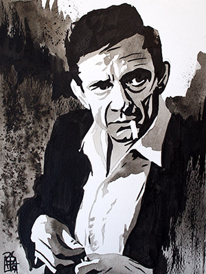 Purchase Johnny Cash painting by Rob Schamberger
