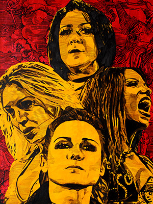 Purchase Four Horsewomen of the Apocalypse painting by Rob Schamberger